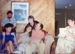 The 25th reunion planning begins...Danny Jovi, Merrily McClintock, Kathy Bailey, Bruce Holmes, Carol Swanson & Kathy Kuy